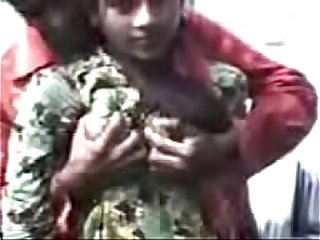 Indian boy press girlfriend boobs in outdoor