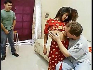 Indian slut Kara gangbanged and creamed by five dudes