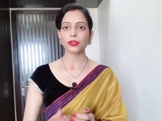Indian Desi Bhabhi Wearing Yellow Saree In Front Of Devar